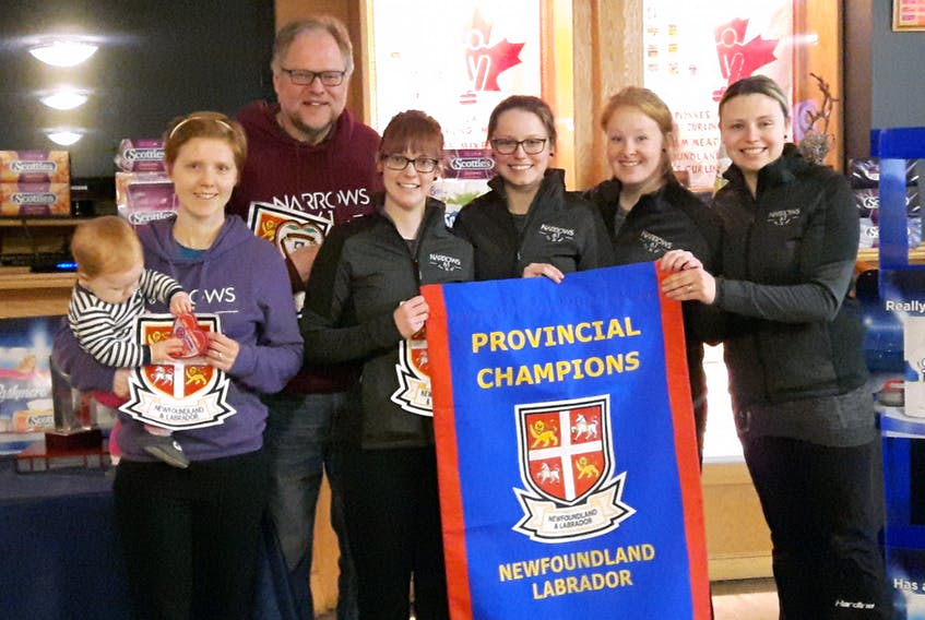 Stacie Curtis and her St. John's rink won the 2018 Newfoundland and Labrador women's curling championship, defeating Heather Strong in the final at the Re/Max Centre St. John's. Members of the winning team include (from left) Carrie Vautour (holding her daughter Brooke), coach Eugene Trickett, Erica Trickett, Julie Devereaux, Erin Porter and Curtis.