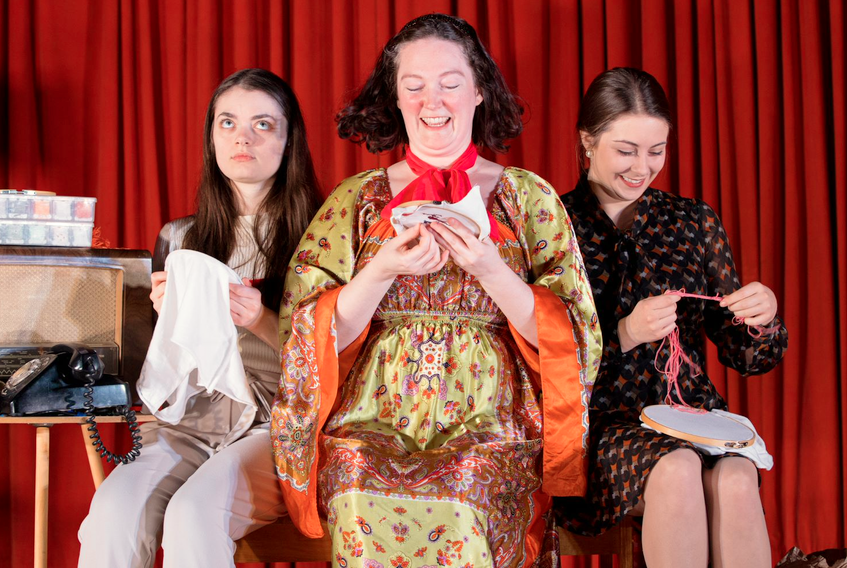 """From left, actors Robyn Vivian, Robyn Huxter and Elizabeth Hicks perform in local playwright/comedian Veronica Dymond's short, """"Cross Stitch,"""" a crowd favourite at """"Private Eyes."""""""
