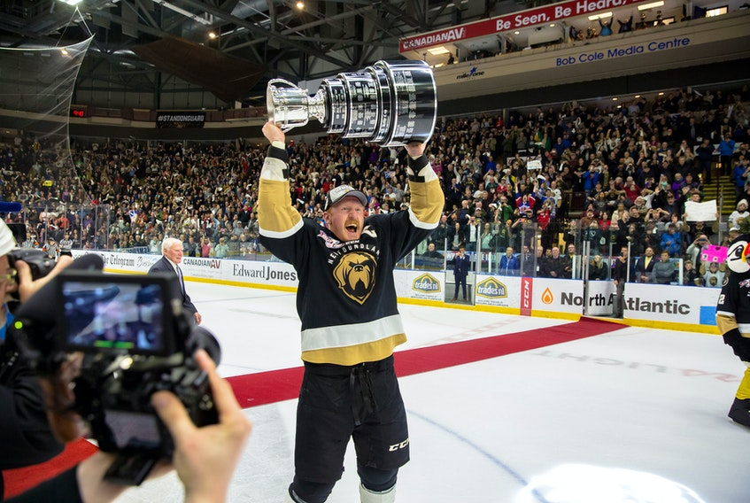 Newfoundland Growlers captain James Melindy became the first player to lift the latest version of the Kelly Cup after Newfoundland won the ECHL championship last week at Mile One Centre. The reason the league needed to arrange for creation of a new Kelly Cup stems from a dispute that relates to the Growlers' 2018 entry into the league as an expansion team. — Newfoundland Growlers photo/Jeff Parsons