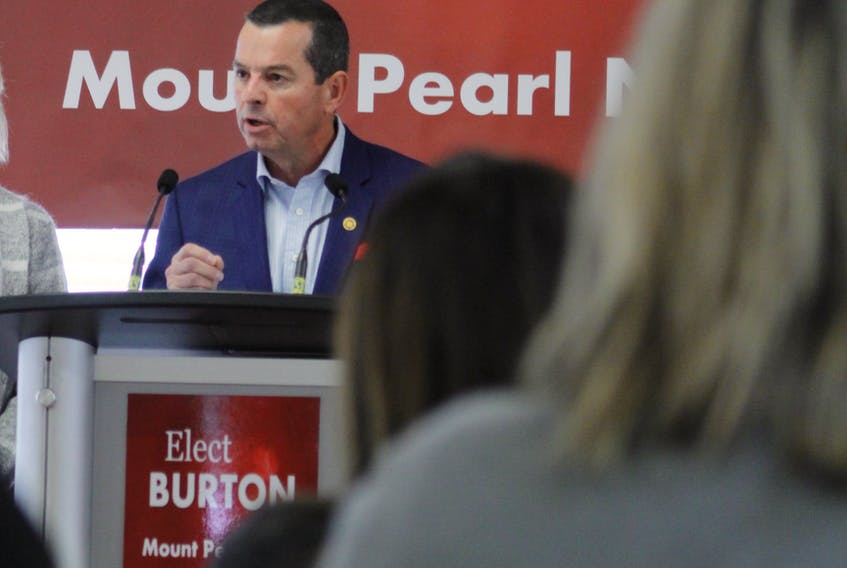 Real estate agent Jim Burton announced his intention to run for the Liberals in the upcoming Mount Pearl North byelection at the soccer hut in Mount Pearl Friday.