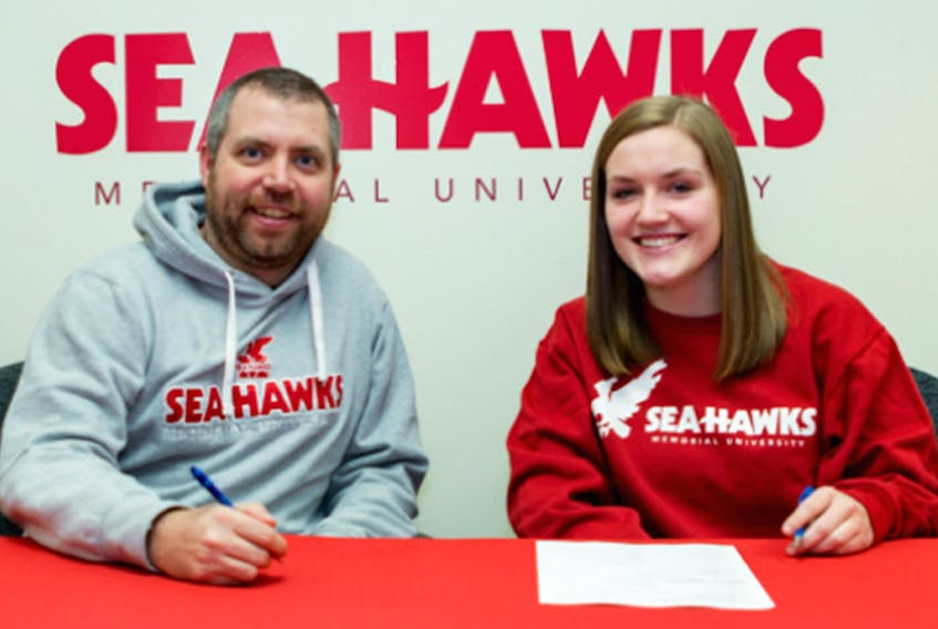 Memorial Athletics photo — Memorial Sea-Hawks volleyball coach John Slauenwhite was more than happy to see Margaret Henley sign on with the team.