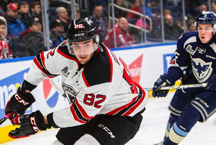 Jesse Sutton (88), shown playing against the Sherbrooke Phoenix last season, had been a consistent performer and popular player with the QMJHL's Quebec Remparts, but an overabundance of overage players on the Remparts' roster, led to his being traded to the Chicoutimi Sagueneens over the weekend. — Quebec Remparts photo/Jonathan Roy