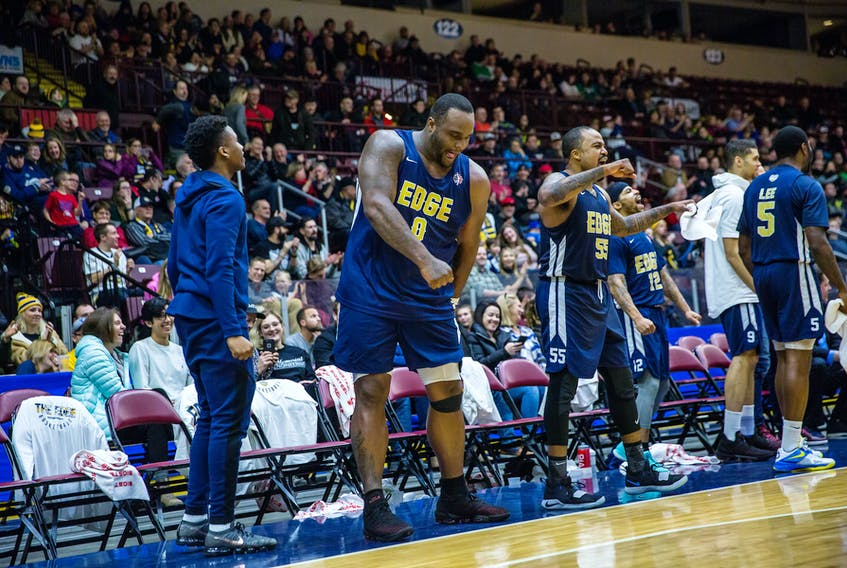 """St. John's Edge photo/Jeff Parsons - Glen Davis, the ex-NBA star, brings personality and """"phenomenal"""" energy to his new team, the St. John's Edge which have won five games in a row."""
