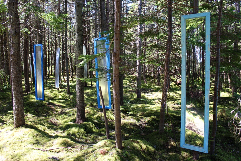 These mirrors, installed at Mount Scio, will be the setting within which a choir will sing a new composition on July 1. — Special to The Telegram