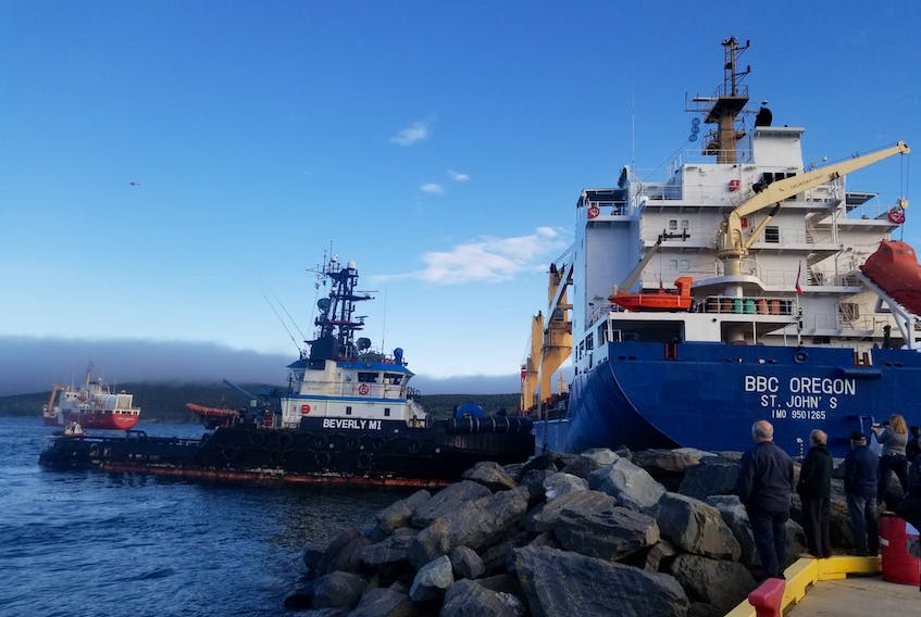 MV BBC Oregon went aground Sunday afternoon and was pulled free from the rocks by tugboat Beverley M early that evening.