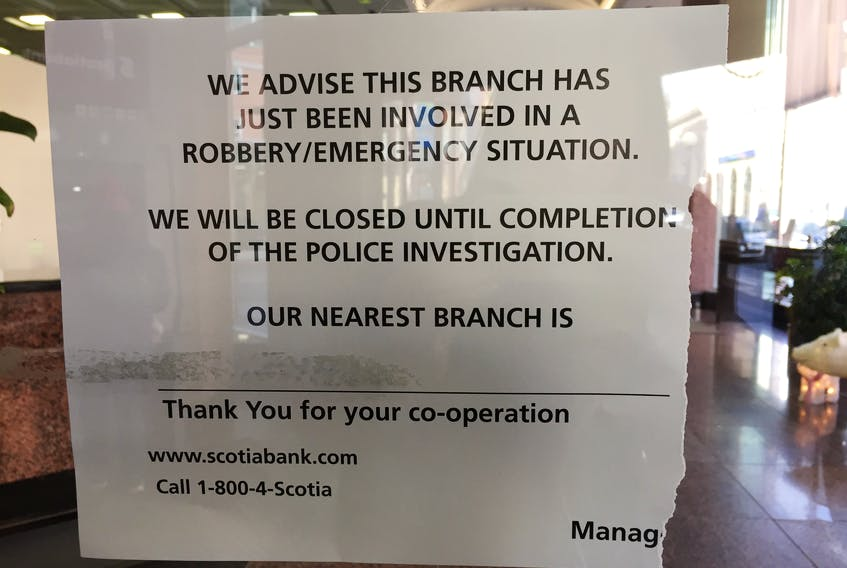 The RNC responded to an robbery at the Scotiabank on Water Street in St. John's Friday.