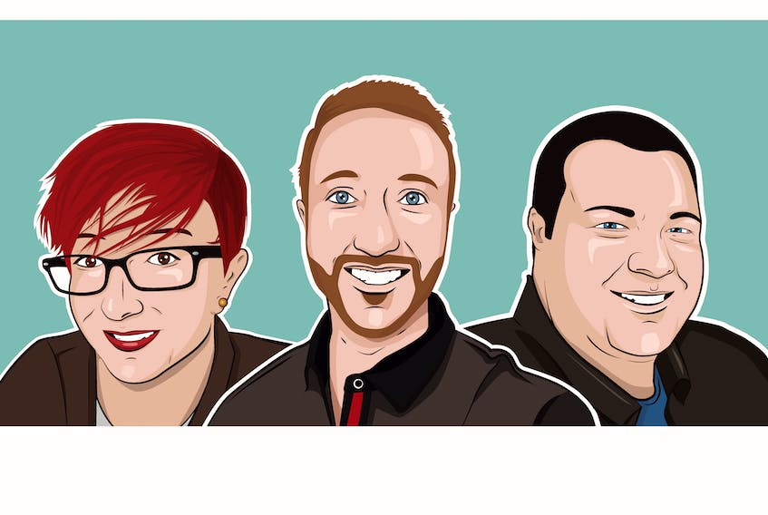 The Rogue Penguin Creative team consists of (from left) copy director Alisha Morrissey, director of relationships Liam Kelly and creative director Sid Williams, the artist responsible for these caricatures.