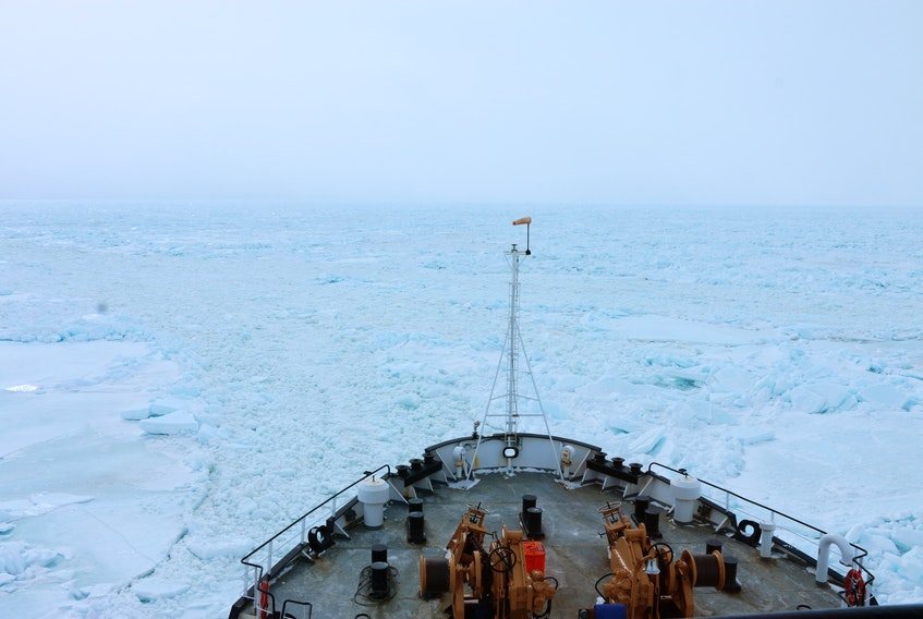 CCGS Henry Larsen icebreaking near St. Barbe, N.L., in late March. Again this year, heavy ice conditions caused significant problems for fishing operations and transportation in the Strait of Belle Isle. – Canadian Coast Guard photo
