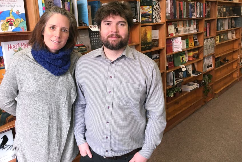 Patsy Power (left), owner of Rock Paper Flowers, and Broken Books owner Matt Howse are the new occupants of 245 Duckworth St., the former home of Afterwords bookstore, which closed its doors for good late last year.