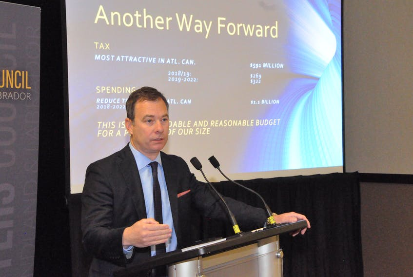 Newfoundland and Labrador Employers' Council executive director Richard Alexander speaks to the audience at the launch of the Another Way Forward campaign, which aims to offer alternatives to the government's fiscal management plan. It calls for $600 million in tax cuts and more than $1 billion in spending reductions.