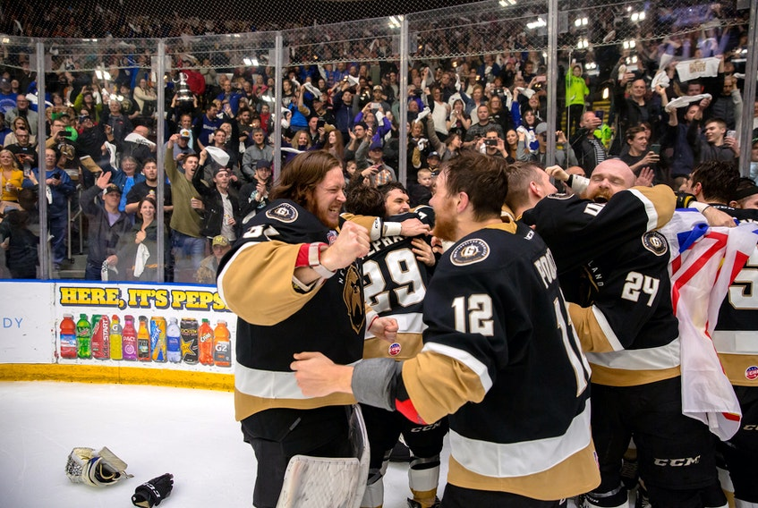 Newfoundland Growlers goalie Eric Levine, who has made his rounds in pro hockey, celebrated the Growlers' championship with teammate Scott Pooley moments after the final buzzer Tuesday night at Mile One Centre. He says his stop in St. John's has been the best of his career.