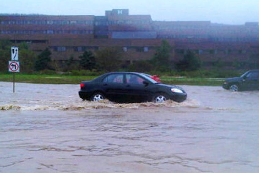 Flooding along Prince Philip Parkway in St. John's during hurricane Igor in 2010.