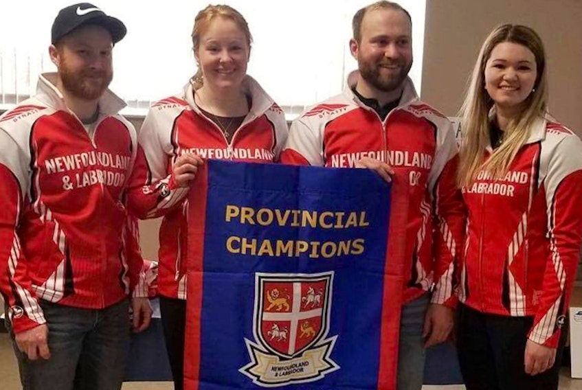 The St. John's rink of (from left) skip Cory Schuh, third Erin Porter, second Andrew Taylor and lead Brooke Godsland plays Quebec and New Brunswick in their final two games of championship pool play at the national mixed curling championship. — Newfoundland and Labrador Curling Association