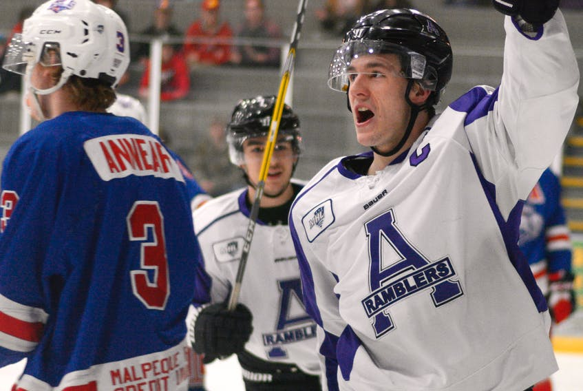 SaltWire Network photo/Amherst Daily News Amherst Ramblers captain Jordan King celebrates a goal against the Summerside Capitals in a Maritime Junior Hockey League game earlier this season. King, a 20-year-old from Corner Brook, is the MJHL's second-leading scorer.