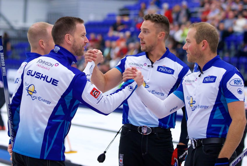 """File photo/Grand Slam of Curling photo/Anil Mungal— Brad Gushue celebrates with teammates Mark Nichols (left, behind Gushue), Brett Gallant and Geoff Walker (right) after their win in the 2017 Tour Challenge Grand Slam event. All indications are that the Gushue foursome will stay together next season, although there is a good chance the rink might have to avail itself of Curling Canada's """"free agent"""" rule, which allows teams to have one out-of-province resident."""