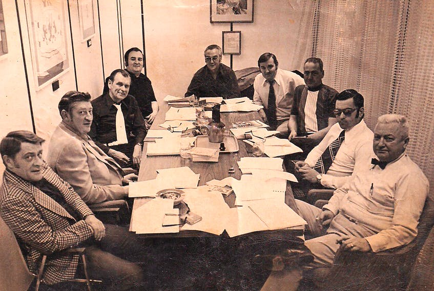 This photo shows the executive of the Canadian Amateur Softball Association (later Softball Canada) during a 1971 meeting in Ottawa. Those in attendance included (from left) federal government representative Ted Petersen, unknown, Ward Lloyd of British Columbia, Dee Murphy of Newfoundland, president Bob Van Impe of Saskatchewan, executive director Larry Skinner, unknown, Ray Veseau of Quebec and Ed Corbett of Alberta. The national governing body for softball had been formed six years before, with Newfoundland, through Murphy, being a catalyst for its creation.