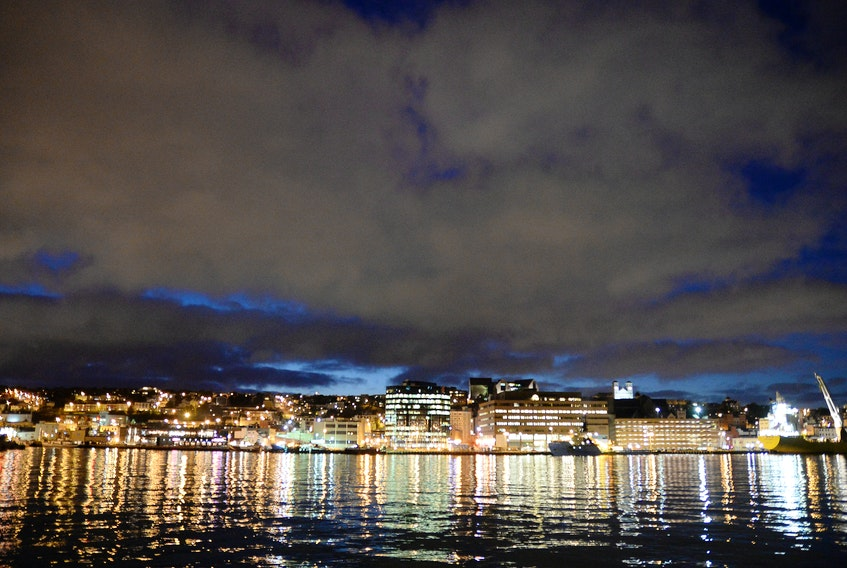 The night skyline of St. John's is shown in a file photo.