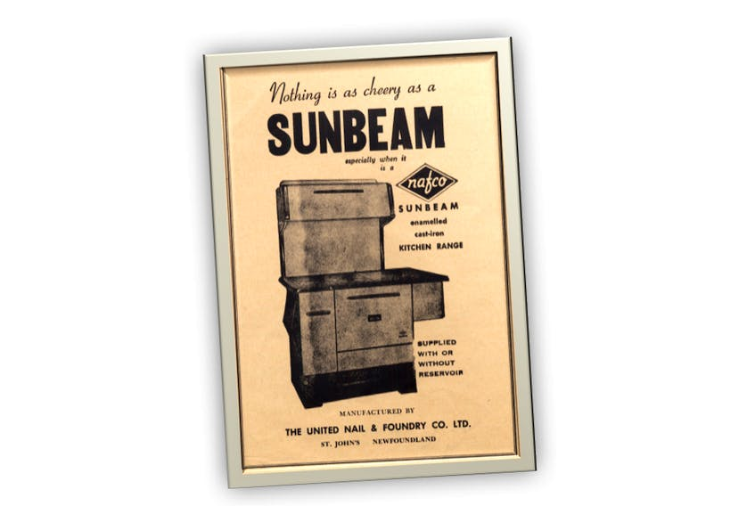 """One of the ads supporting the first issue of """"Here in Newfoundland"""". By 1956, our ubiquitous iron kitchen stove had completed its evolution, stepping out as an enamelled appliance. This one had a hot water reservoir sticking off its right flank."""