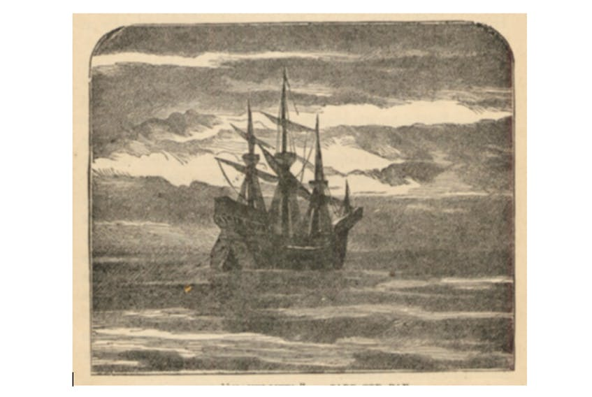 An early 17th-century sailing vessel of 150 tons. Illustration reproduced from The Royal Readers, No. V., 1917.