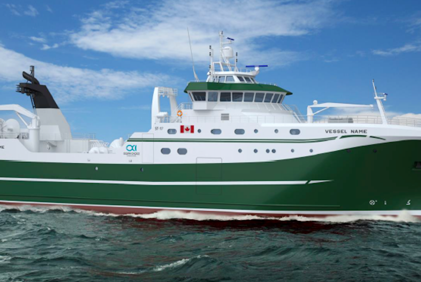 A computer-generated image of the new state-of-the-art arctic class vessel being built for Ocean Choice International. Delivery of the vessel from Europe to Canada is expected next December.