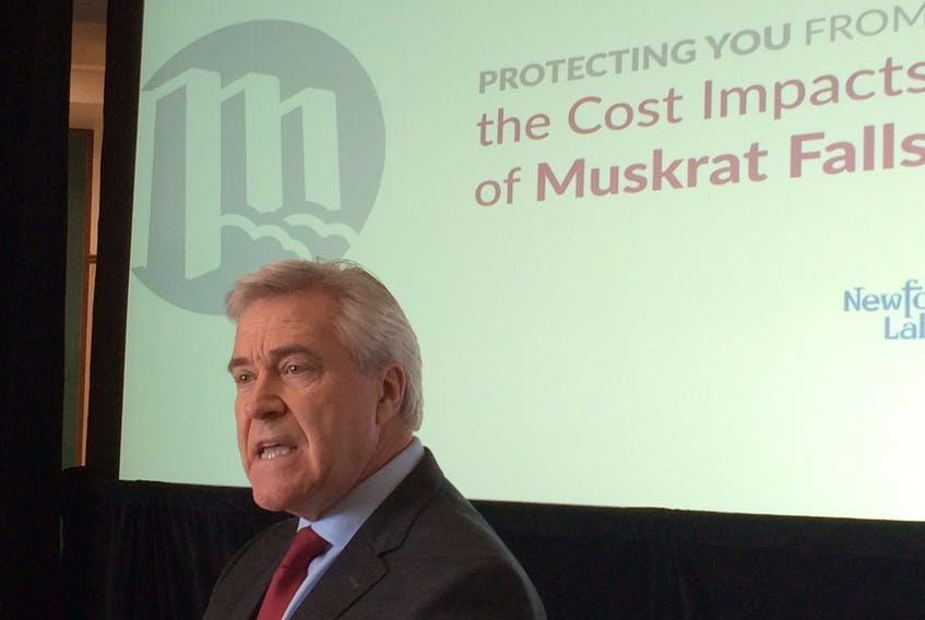 Premier Dwight Ball speaks at an announcement about the government's plan to deal with mitigation of electricity rates at Confederation Building Monday morning.