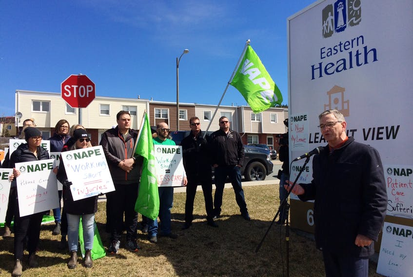NAPE president Jerry Earle addresses workers at Pleasant View Towers during a noon-hour demonstration in St. John's.