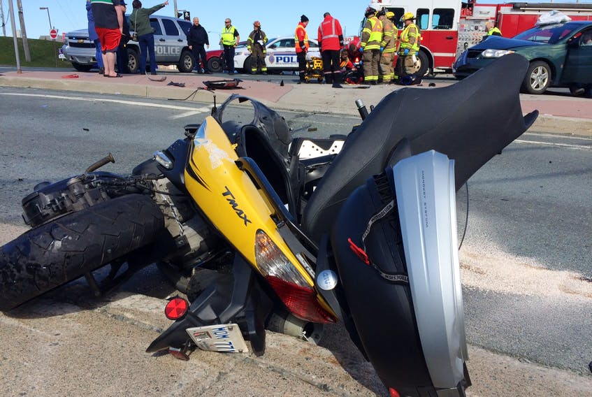 A rider of this motorcycle was taken to hospital with undisclosed injuries on Tuesday afternoon after he collided with a car at the intersection of Portugal Cove Road, Higgin's Line and Newfoundland Drive around 4:30 p.m. —JOE GIBBONS/THE TELEGRAM