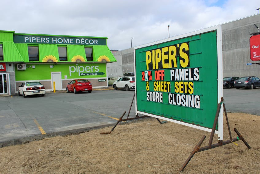 The sign says it all for this location on O'Leary Avenue in St. John's. Pipers is closing this location and a second one in Mount Pearl by the end of March and will be opening a new location in Bay Roberts projected for August.