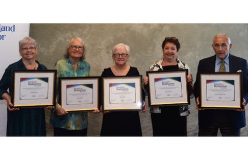 In collaboration with National Seniors Day in Canada and also being the International Day of Older Persons, the province's Children, Seniors and Social Development department awarded its annual Seniors of Distinction Awards at the Holiday Inn on Tuesday afternoon. The 2019 recipients are (from left) Annie Brennan of Marystown, Lorraine Best of Paradise, Olga Kinden of Green Island Cove (Northern Peninsula), Noreen Careen of Labrador City and John McGrath of St. John's.