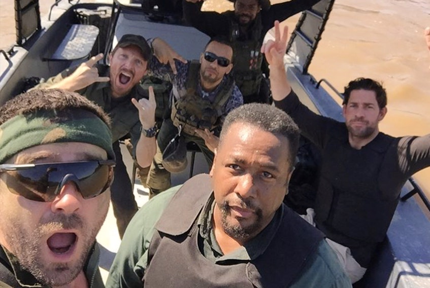 """In Season 2 of the acclaimed Amazon hit """"Jack Ryan,"""" Allan Hawco (left) joins a cast that includes Wendell Pierce (right) and John Krasinski (second row, at right). —"""