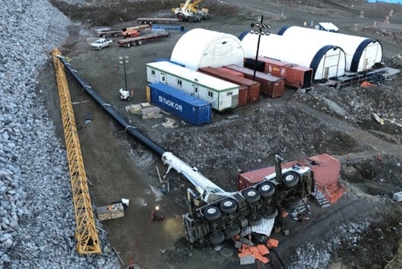 A fallen crane at the Muskrat Falls construction site. — - Contributed