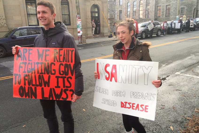 Two protests took place outside the Supreme Court of Newfoundland and Labrador Thursday over the Grieg Aquaculture project. Brendan Kelly and Katie Kennedy, of the St. John's area, want an environmental assessment of the Grieg Aquaculture project in St. Lawrence. The pair say they aren't against the project, but the province is irresponsible to allow it to go ahead without a full environmental impact study first.