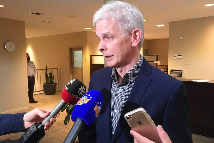 Newfoundland and Labrador Medical Association (NLMA) executive director Robert Thompson laid out the association's assessment of the proposed prescription drug monitoring law to reporters Wednesday at the NLMA office in St. John's.