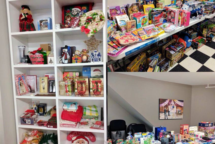 Making sure everyone has the ability to give a gift at Christmas is the goal of Thrive's Christmas Store initiative. These items were all donated to the program last year.