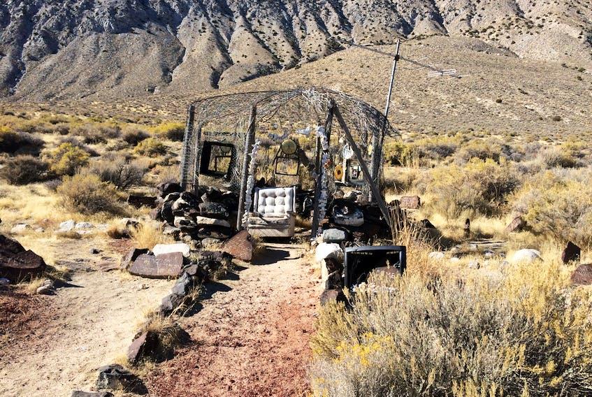 Chain-link yurt art installation, near Gerlach, Nevada.  —