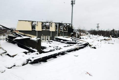The remains of the Hotel Mount Pearl on Monday.