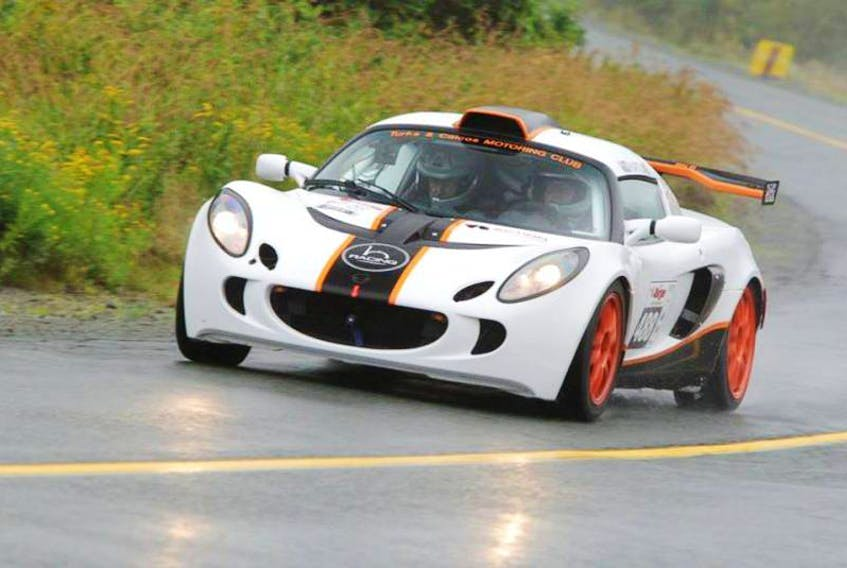 A driver and navigator compete in a Targa Newfoundland stage race. Photo courtesy of Targa Newfoundland.