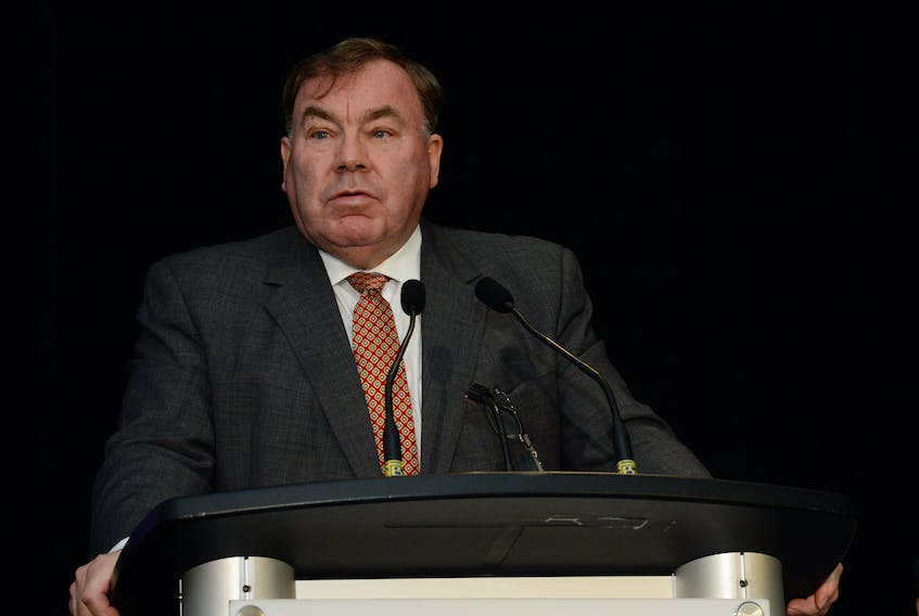 President and CEO Stan Marshall speaks at the Nalcor annual general meeting in St. John's Tuesday.