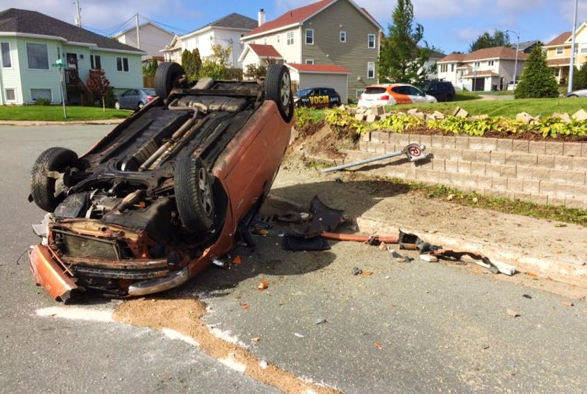 There were no injuries in a single-vehicle accident in the west end of St. John's today.