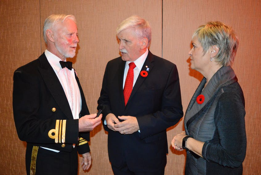 Allan Callard, left, founder of P.E.I. Friends of True Patriot Love, joins Lt.-Gen. Roméo Dallaire, keynote speaker, and Valerie Docherty, chairwoman of the tribute dinner, prior to the P.E.I. Friends of True Patriot Love 2017 Tribute Dinner, a night dedicated to veterans, military and their families.