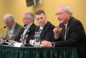 Liberal Leader Wade MacLauchlan speaks during Wednesday's agriculture debate hosted by the P.E.I. Federation of Agriculture at the Murchison Centre. MacLauchlan was the only one of P.E.I.'s four party leaders who did not call for a review of the P.E.I. Lands Protection Act.