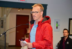 David Young of Stratford was one of three residents to take the microphone during presentations from the floor to voice his concerns over the new Foxwoods Sustainable Subdivision. Young hopes the developer mitigates the noise, dust and debris during construction.