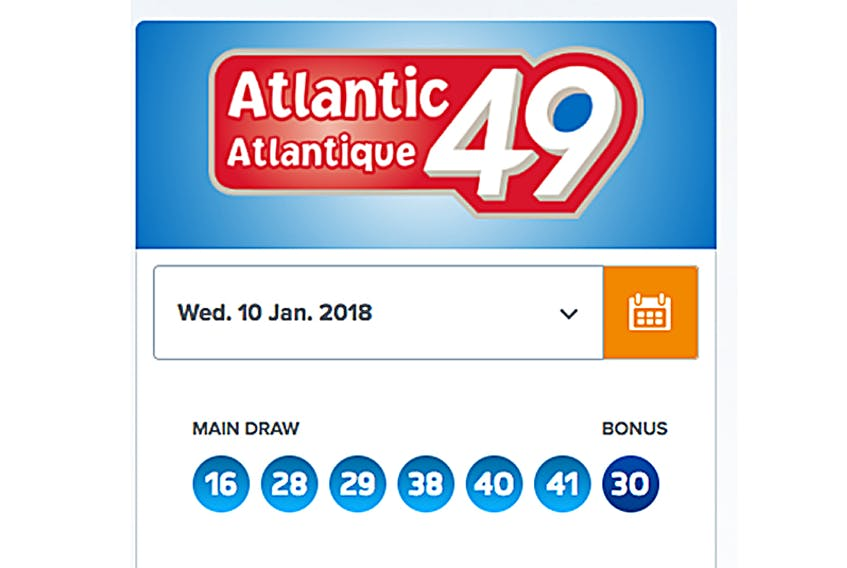 Atlantic 49 winning numbers from Wed., Jan. 10, 2018. A winning ticket for 1$million was sold in Summerside.