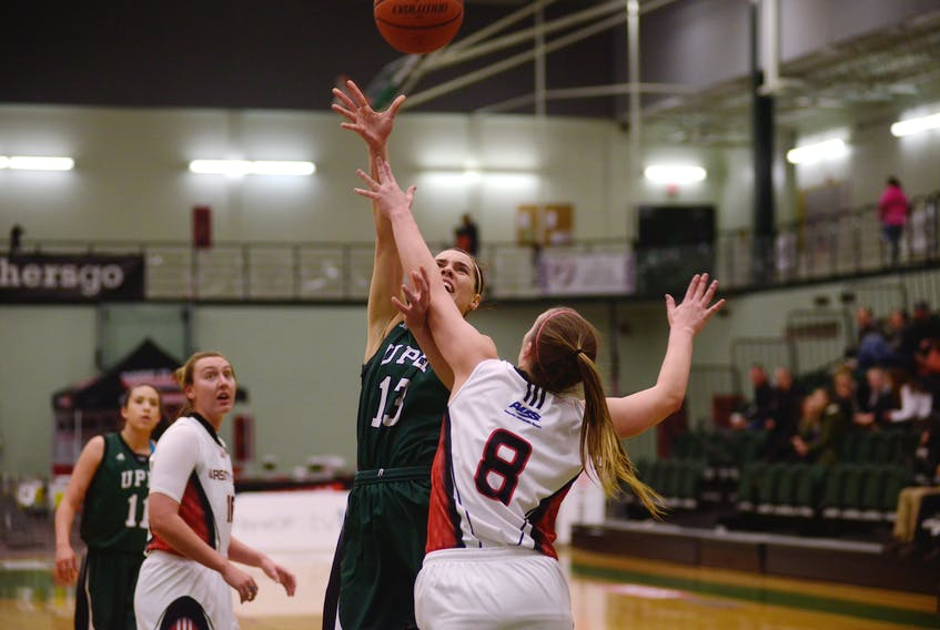 UPEI Panthers forward Kiera Rigby is fouled during Saturday's Atlantic University Sport women's basketball game in Charlottetown. Jason Malloy/The Guardian