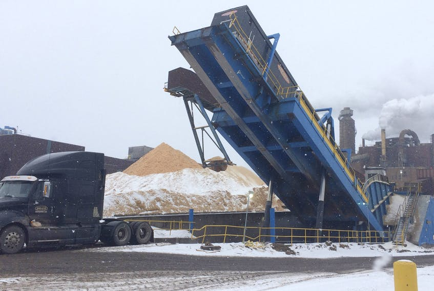 A transport truck unloads a shipment of wood chips at Northern Pulp, near Pictou, N.S., in January 2009.