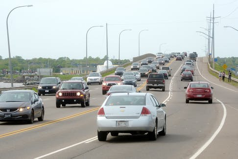 Suppertime traffic crosses the Hillsborough Bridge connecting Stratford and Charlottetown on Tuesday. The bridge was the site of 31 collisions, including one fatality, from 2013 to the end of 2017.