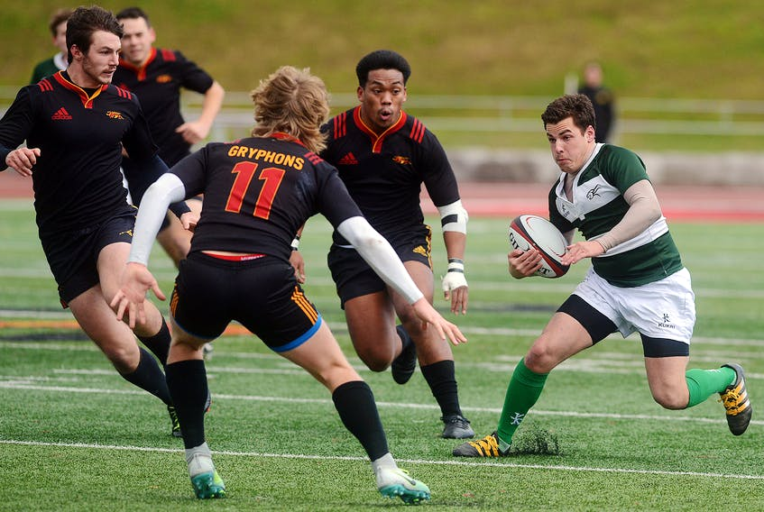 Isaiah Hood, of the UPEI Panthers, make a move Thursday against the Guelph Gryphons at the Canadian University Men's Rugby Championship in Guelph, Ont. Tony Saxon/GulephToday.com/Special To The Guardian