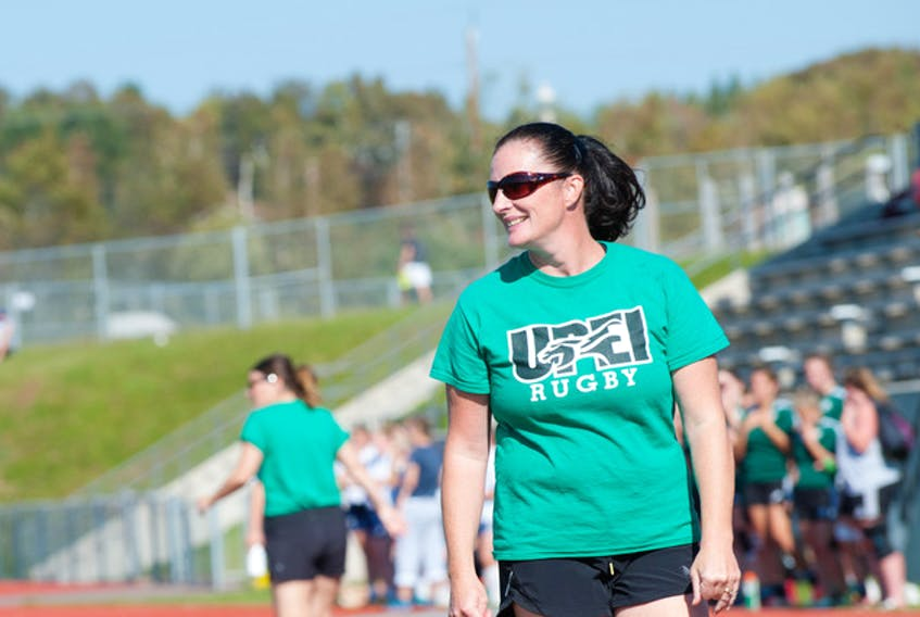 Former UPEI women's rugby coach Shannon Atkins is pictured patrolling the Panthers sidelines. Atkins is going into the P.E.I. Rugby Union Hall of Fame for pioneering women's rugby on P.E.I. and her success at a university player.