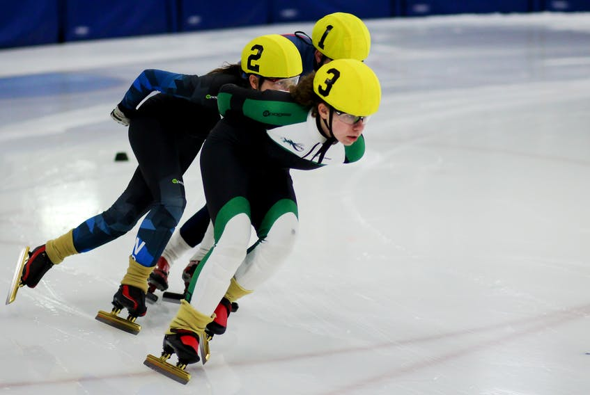 P.E.I.'s Jenna Larter leads a trio of skaters during a race earlier this fall. She will be one of nearly 40 Islanders competing in this weekend's Atlantic Cup Speed Skating Championships in Charlottetown. Larter enters the weekend as the top seeded female athlete. Kristen Binns Photography/Special To The Guardian