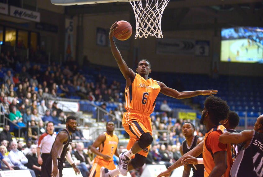 Franklin Session lays in two of his 20 points Tuesday during the Island Storm's Boxing Day matinee against the Moncton Magic.